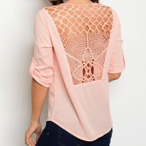 Tops - Peach Pink Lace Up Crochet Roll-Tab Blouse